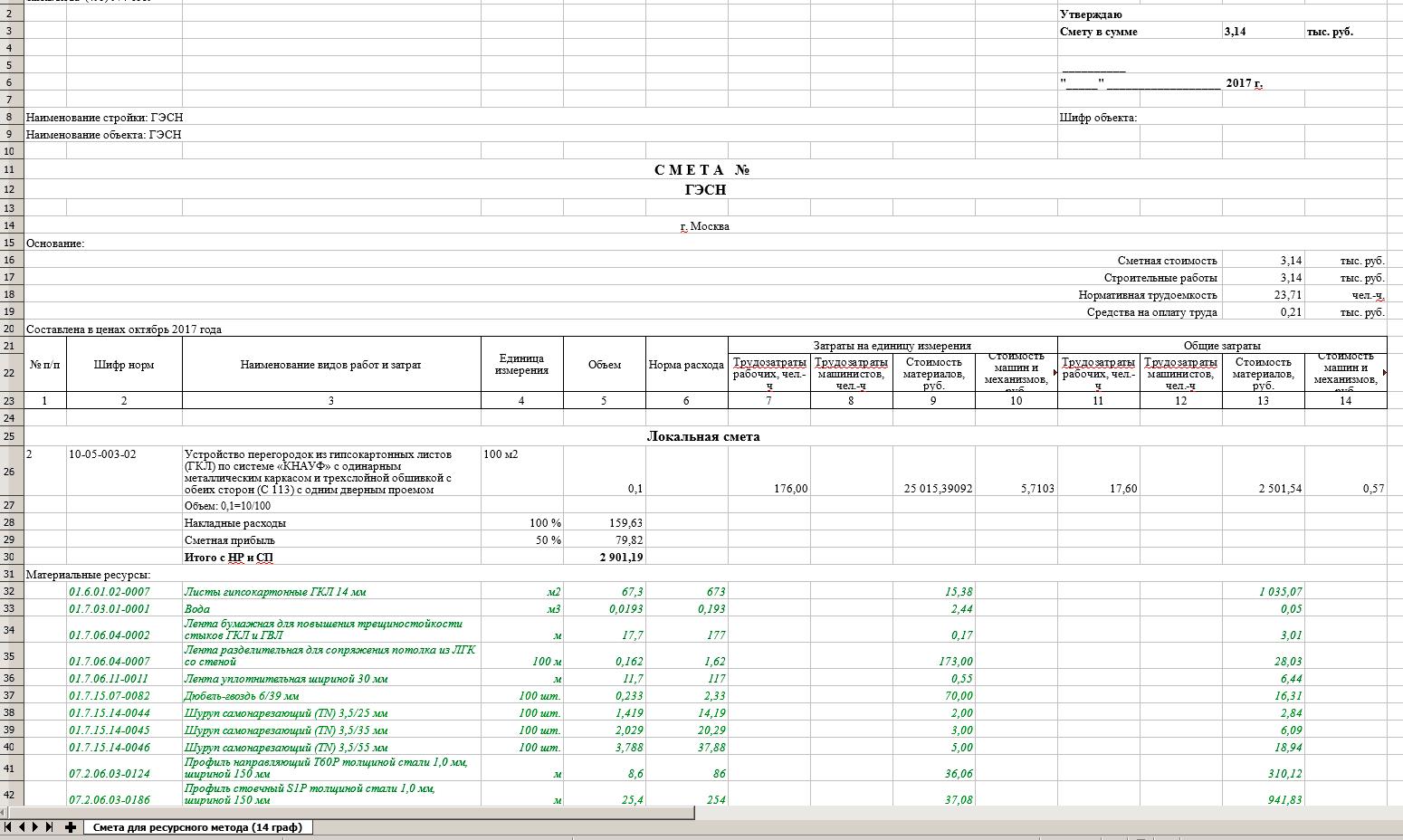 «Смета для ресурсного метода (14 граф)»