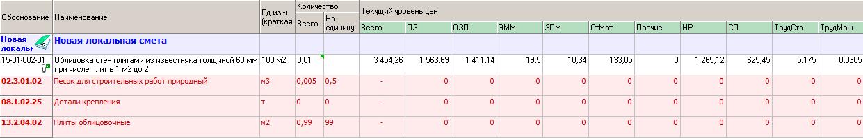 расценка в ФЕРах 2017 года