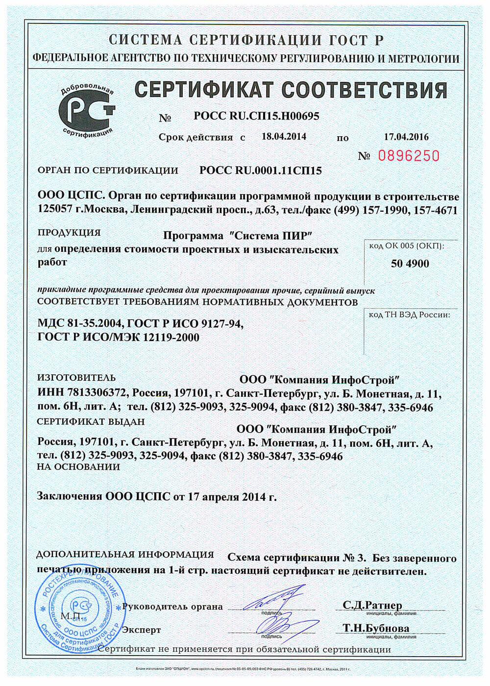 Сертификат соответствия нормам